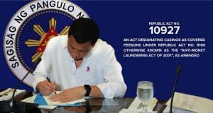 The signing of Republic Act 10927 Casino Law
