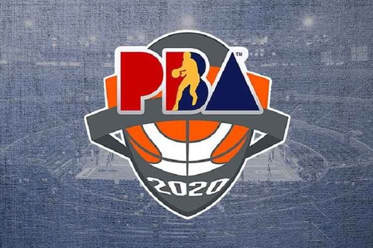 2020 PBA logo over a grayed out basketball court background