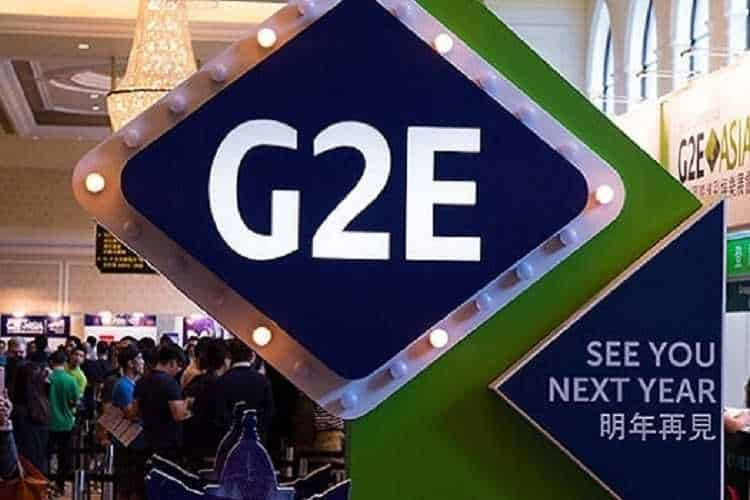 g2e asia expo sign with attached placard reading see you next year