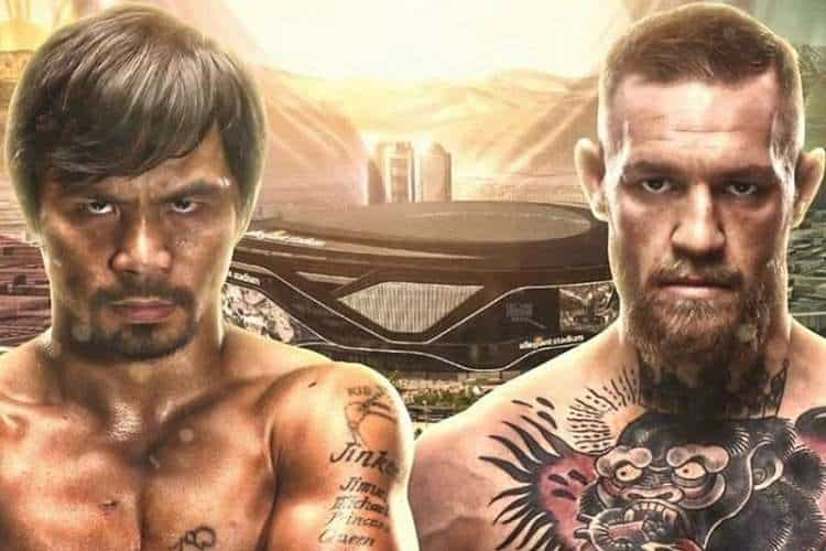 boxing fight promo image of manny pacquiao standing next to conor mcgregor