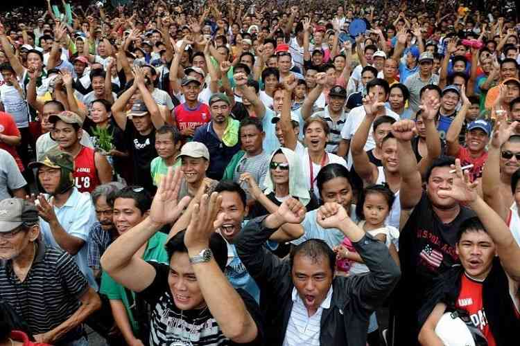 crowd of cheering philippine sports fans